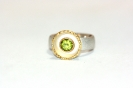 Peridotring in 925°°° Silber, 900°°° Gold und Feingold